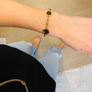 Michael Kors gold colored bangle and necklace set